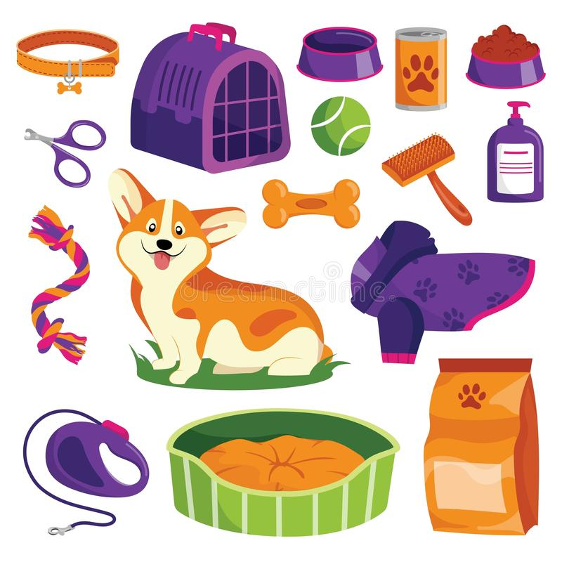 Pet shop icons set. Dog goods vector cartoon illustration. Animal food, toys, care and other stuff vector illustration