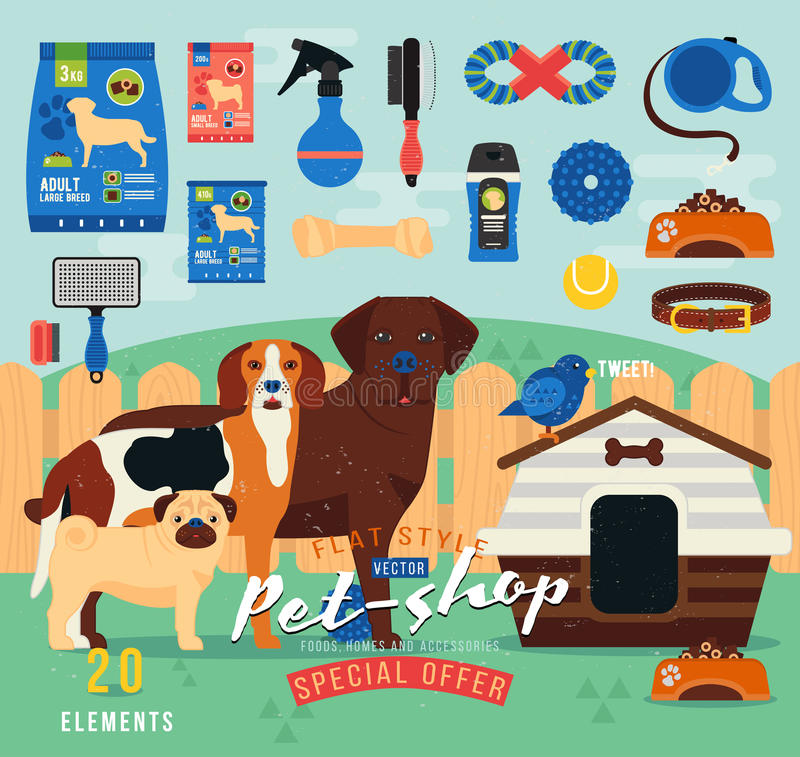 Pet shop items set. Vector grooming icon. Illustration of accessories, toys, goods for care of pets. Flat royalty free illustration