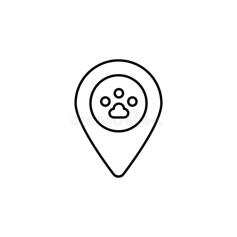 pet shop, location icon. Simple thin line, outline  of Petshop icons for UI and UX, website or mobile application royalty free illustration
