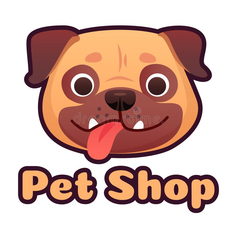 Free Pet Shop Logo Design With Pug Face. Dog Store Selling Goods And Accessories For Domestic Animals, Puppy Head Royalty Free Stock Photo - 190240405