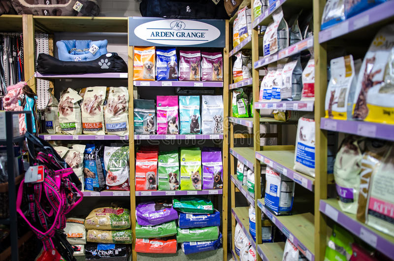 Pet shop with many products. Pet shop in Finland with dry food and cans- Tampere stock image