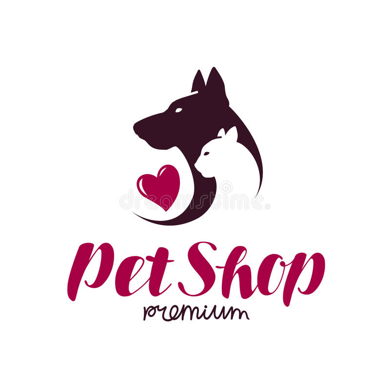 Free Pet Shop Or Vet Clinic Logo. Animals, Cat, Dog Icon Or Label. Lettering Vector Illustration Royalty Free Stock Photography - 92169607