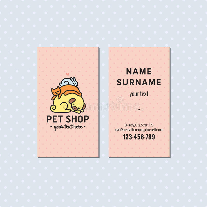 Pet shop pink vector business card cute multicolored logo with download pet shop pink vector business card cute multicolored logo with sleeping dog cat reheart Gallery