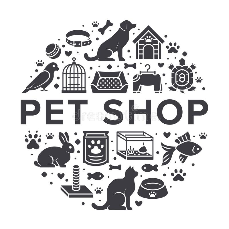Pet shop vector circle banner with flat silhouette icons. Dog house, cat food, bird, rabbit, fish, animal paw, bowl stock illustration