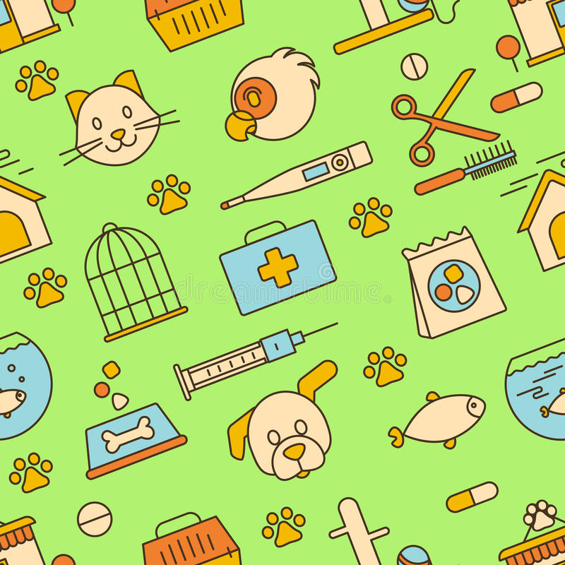 Pet shop, veterinary clinic. Seamless pattern. stock images