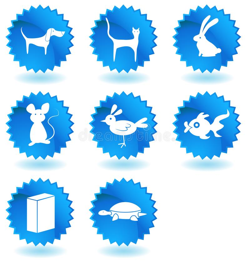 Pet Store Animals Button Set. An image of a Pet Store Animals Button Set stock illustration