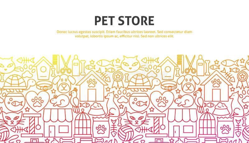 Pet Store Concept. Vector Illustration of Line Web Design. Banner Template stock illustration