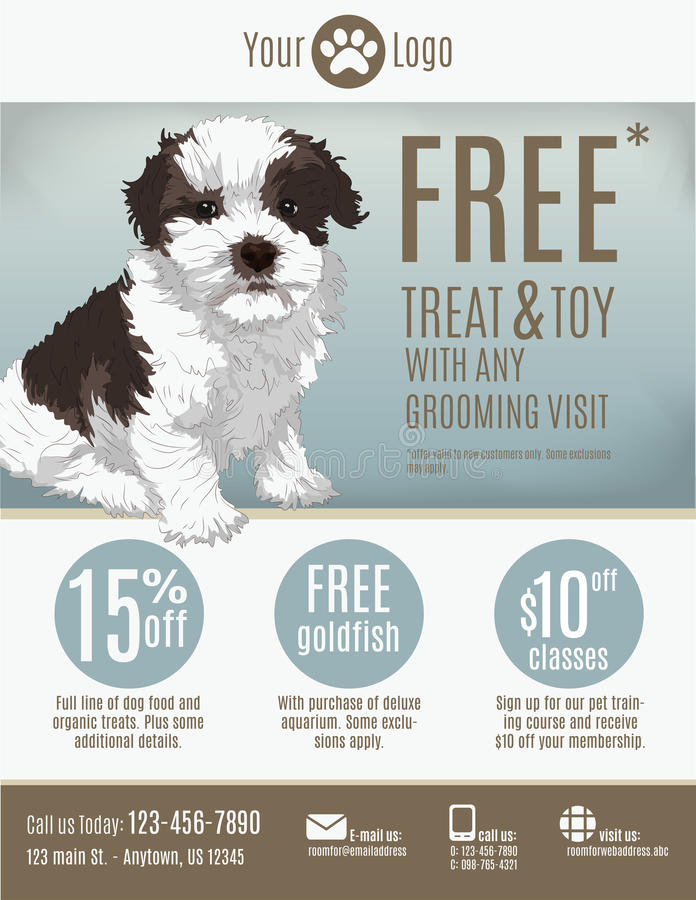 Pet store flyer template. Flyer template for a pet store or groomer with discount coupons and advertisement featuring a cute puppy vector illustration