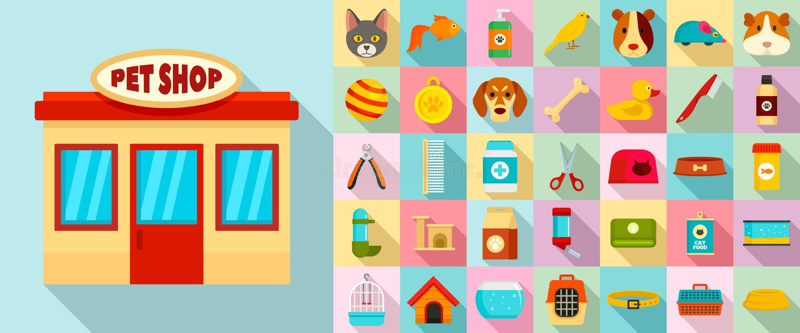 Pet store icon set, flat style vector illustration
