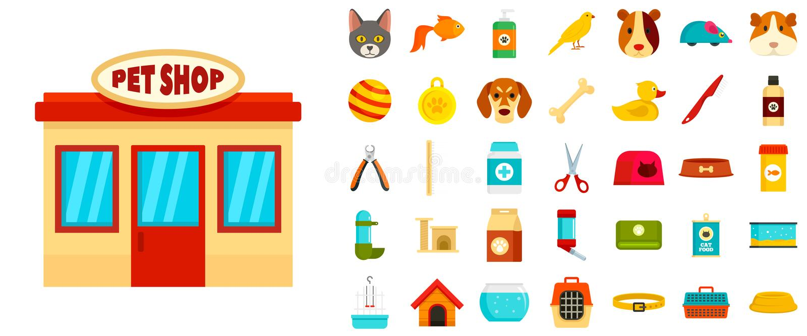 Pet store icon set, flat style. Pet store icon set. Flat set of pet store vector icons for web design vector illustration