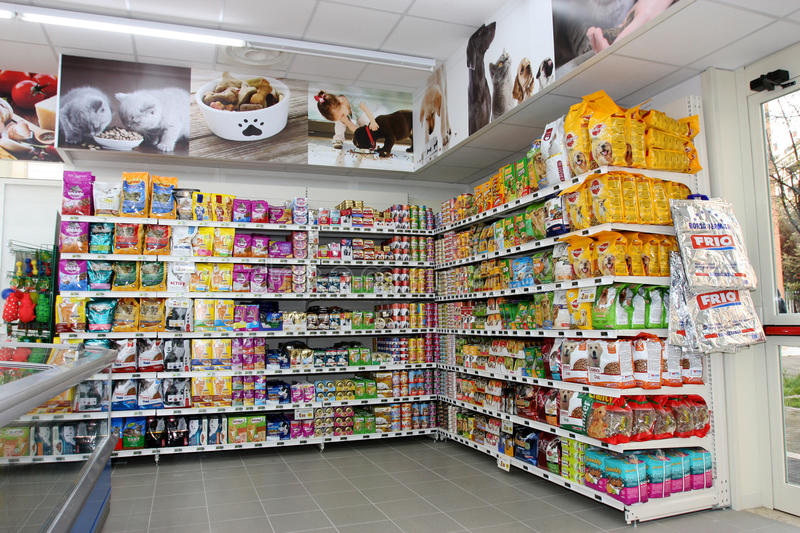 Pet food store. Shelving. Shelf unit. Pet store in a new market opening soon in Rome (Italy stock photo
