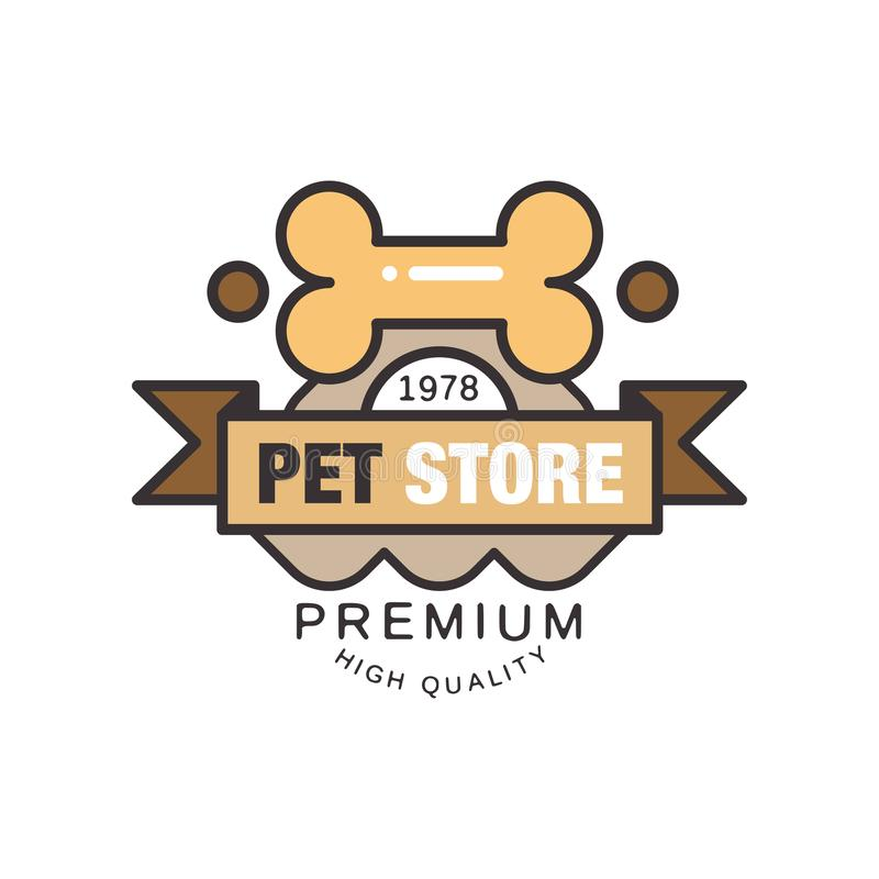 Pet store, premium quality since 1978 logo template design, brown badge for company identity, label for pet shop stock illustration