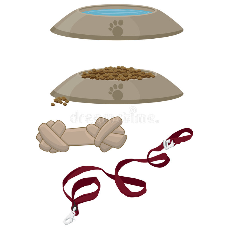 Pet Supplies with clipping path stock illustration