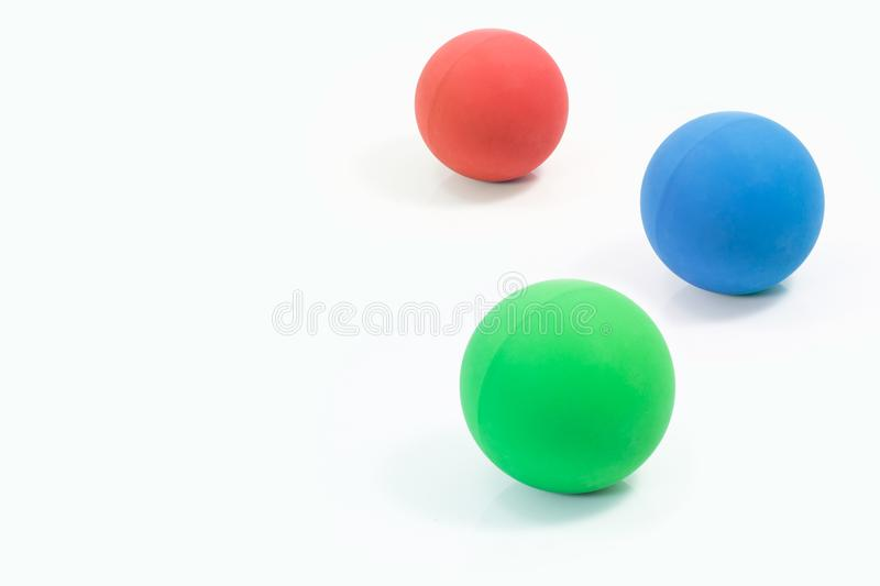 Pet supplies about rubber balls of red, green and blue for pet o royalty free stock photo