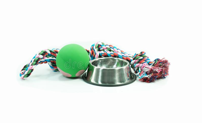 Pet supplies set about stainless bowl, rope, rubber toys for dog stock images