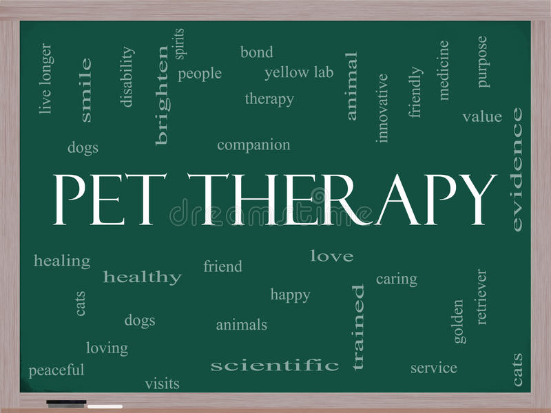 Pet Therapy Word Cloud Concept on a Blackboard stock illustration