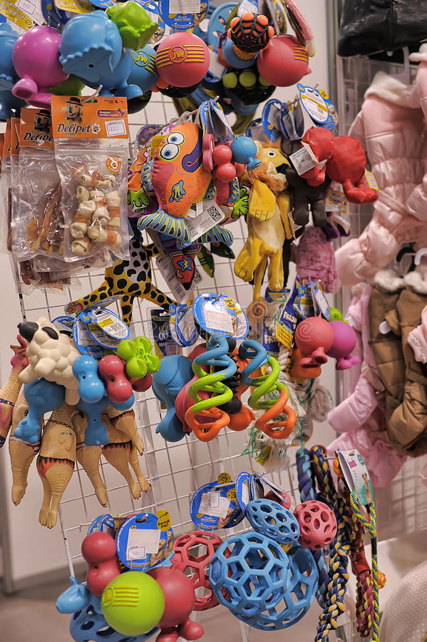 Pet toys in a Pet store. A display of various toys for pets in a pet store royalty free stock image