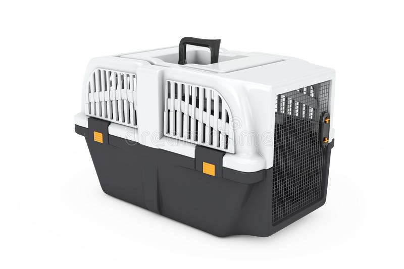 Pet Travel Plastic Cage Carrier Box. 3d Rendering. Pet Travel Plastic Cage Carrier Box on a white background. 3d Rendering royalty free stock photography