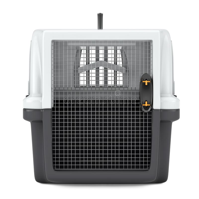 Pet Travel Plastic Cage Carrier Box. 3d Rendering. Pet Travel Plastic Cage Carrier Box on a white background. 3d Rendering stock photography