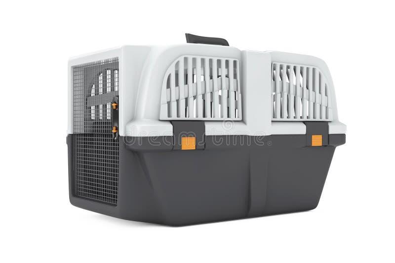 Pet Travel Plastic Cage Carrier Box. 3d Rendering. Pet Travel Plastic Cage Carrier Box on a white background. 3d Rendering stock photo