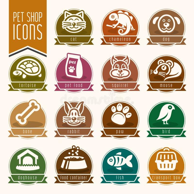 Pet, vet, pet shop icon set royalty free illustration