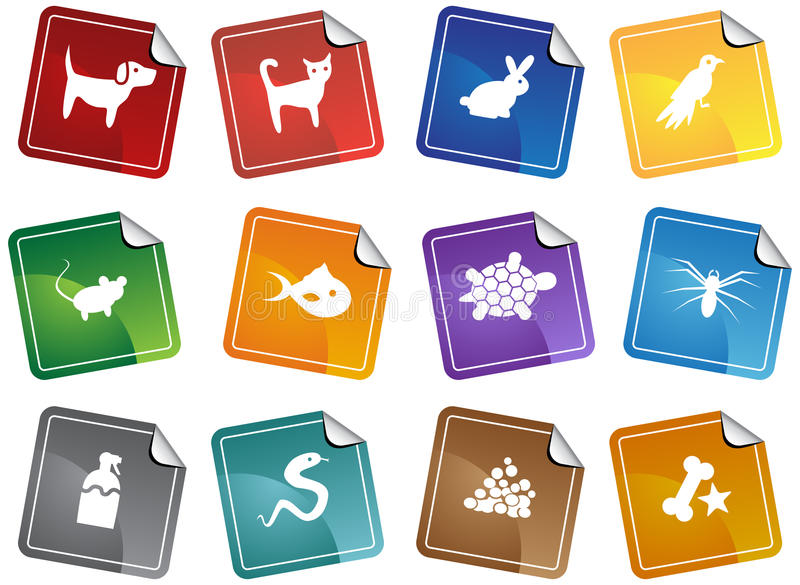 Pet web buttons - sticker stock illustration