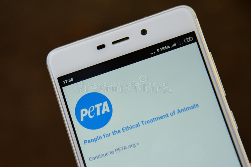 PETA-Logo gesehen auf dem Smartphoneschirm lizenzfreies stockfoto