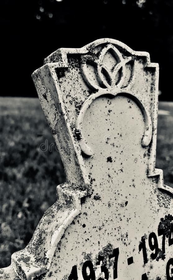 Petal Stone in black and white. Picture of a headstone that I took from the road in black and white and done close up where you can see the years and the details royalty free stock image