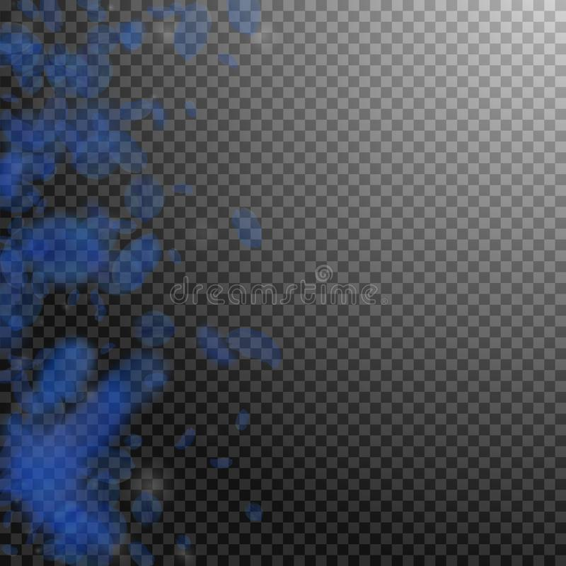 Petali blu scuro del fiore che cadono ROM positiva illustrazione vettoriale