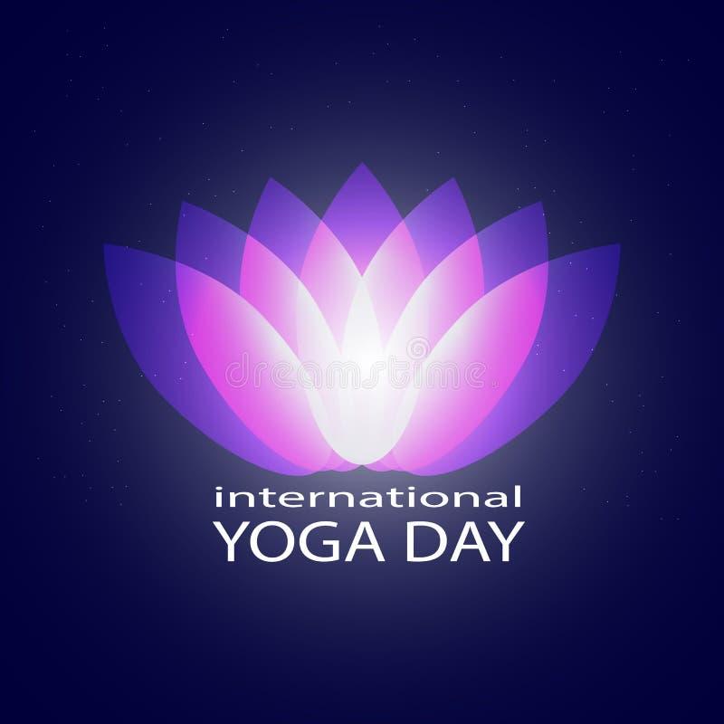 Petali porpora al neon grafici astratti del loto di yoga sul cielo, sullo spazio o sull'universo stellato blu scuro Lotus Flower  royalty illustrazione gratis