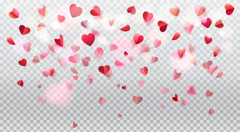 Petali rosa dei cuori romanzeschi di amore trasparenti royalty illustrazione gratis