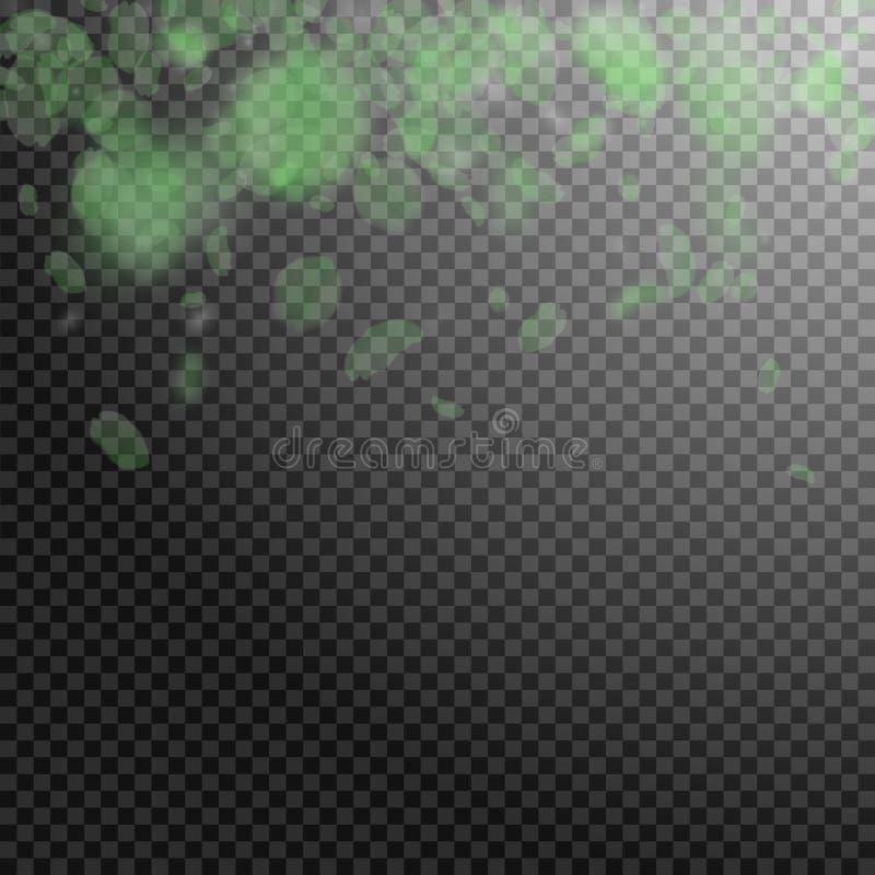 Petali verdi del fiore che cadono Romanti meraviglioso illustrazione di stock