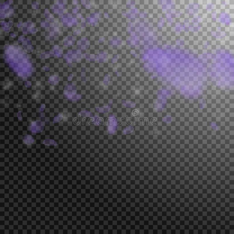 Petali viola del fiore che cadono Incantare romano illustrazione vettoriale