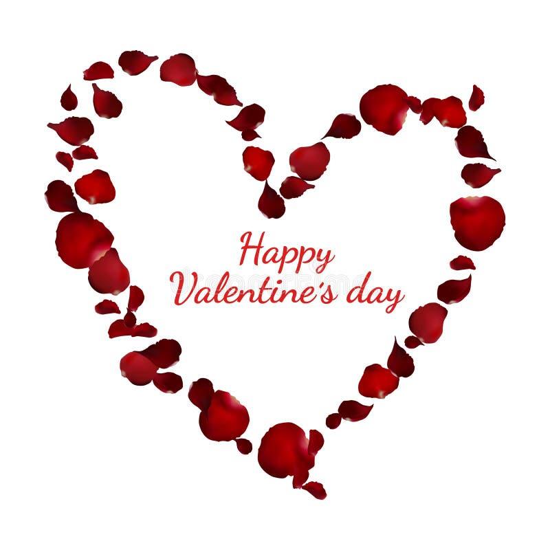 Petalo di rosa rossa realistico di forma del cuore per la carta di giorno del ` s del biglietto di S. Valentino illustrazione di stock