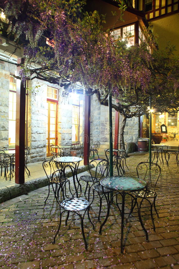Free Petals Covering Bistro Chairs Night Scenery Stock Photography - 27280632