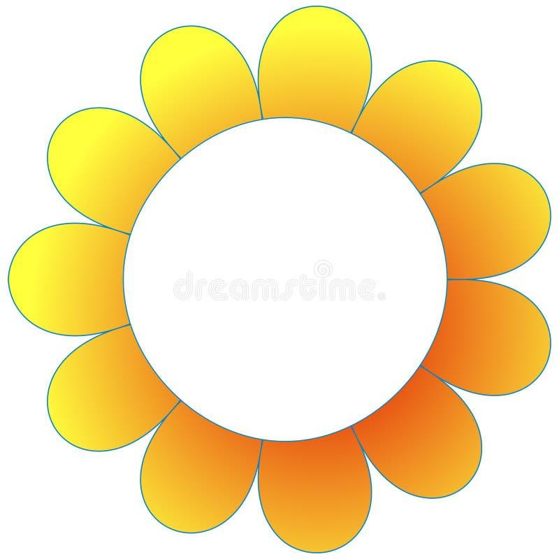 Petals flower frame border clipart. Yellow petals flower frame border template clip art vector illustration
