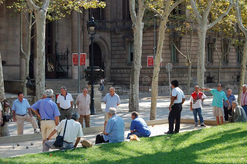 Petanque ball game - Barcelona stock images