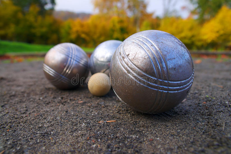 Petanque, jeu de boules, France folâtre le jeu photo stock