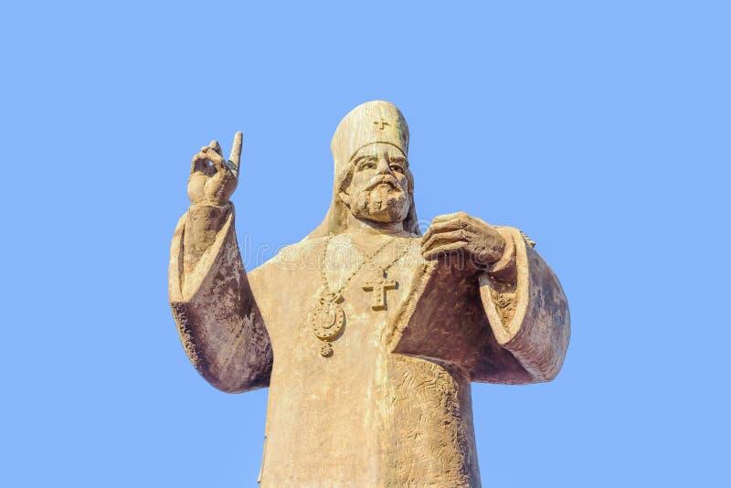 Petar I het Standbeeld van Petrovic Njegos in Podgorica, Montenegro stock foto