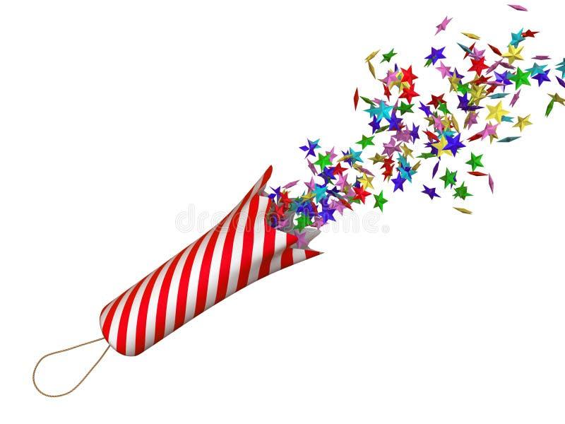 Petard med konfettier stock illustrationer