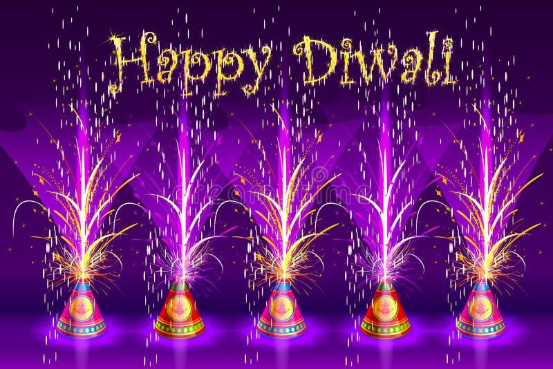 Petardo bruciante in Diwali felice illustrazione di stock