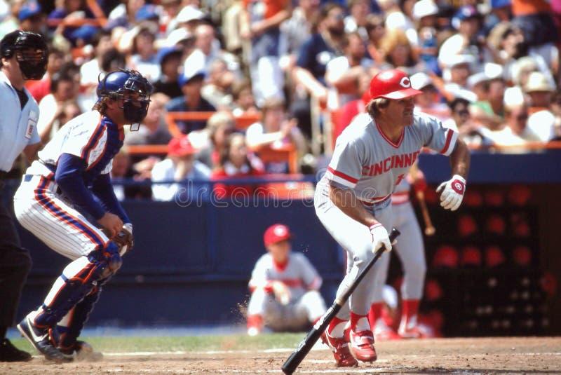 Pete Rose and Gary Carter, Baseball superstars stock image
