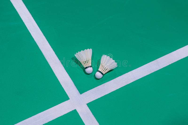 peteca do badminton do close up na corte verde fotos de stock royalty free
