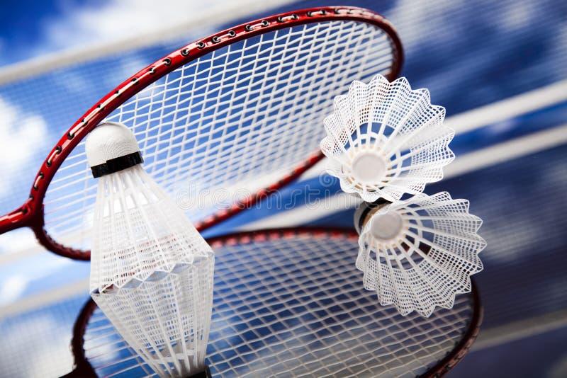 Peteca na raquete de badminton fotografia de stock