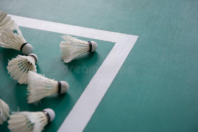 Petecas usadas dentro da borda de cortes de badminton foto de stock