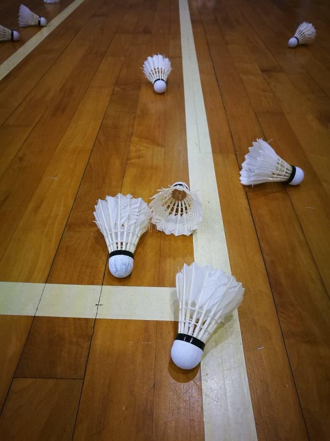 Petecas usadas na corte de badminton fotografia de stock royalty free