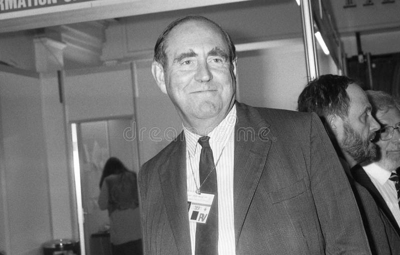 Peter Brooke. Secretary of State for Northern Ireland & Conservative party Member of Parliament, visits the party conference in Blackpool on October 10, 1989 royalty free stock photo