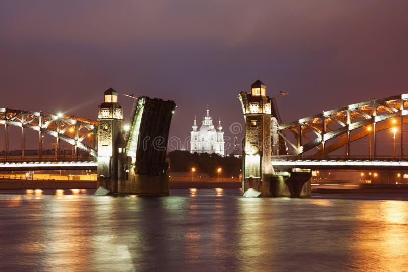 Peter der Große-Brücke, St Petersburg stockfoto