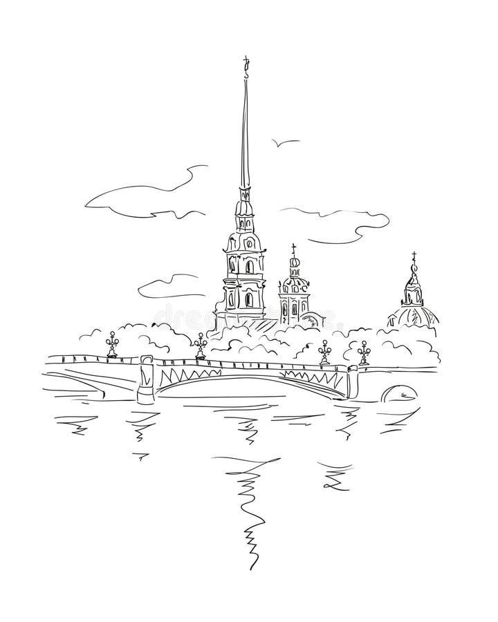 Peter e Paul Fortress em Spb ilustração royalty free