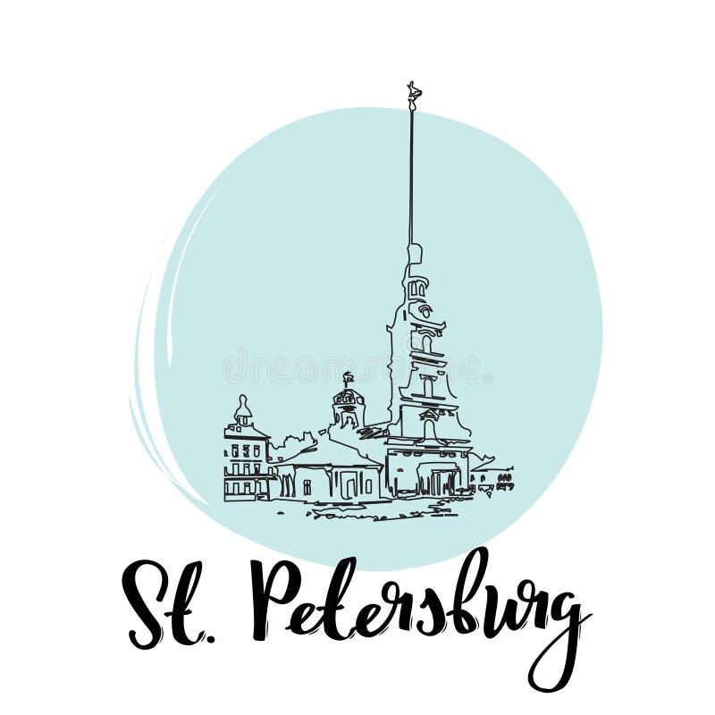Peter e Paul Fortress Saint Petersburg Russia Illustrazione semplice di stile di schizzo di vettore royalty illustrazione gratis